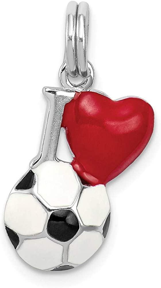 Rhodium-Plated Sterling Silver Enamel I Heart Soccer Ball Charm