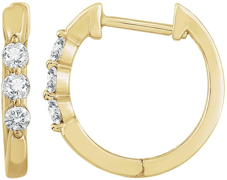 14k Gold 1/4 CTW Diamond Hoop Earrings Fine Jewelry Gifts for Women