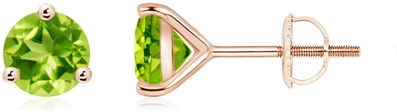 Martini-Set Round Peridot Stud Earrings (6mm Peridot)
