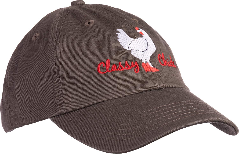 Ann Arbor T-shirt Co. Classy Chick   Funny, Cute Chicken Hen Humor Chiken Baseball Dad Hat for Women Men