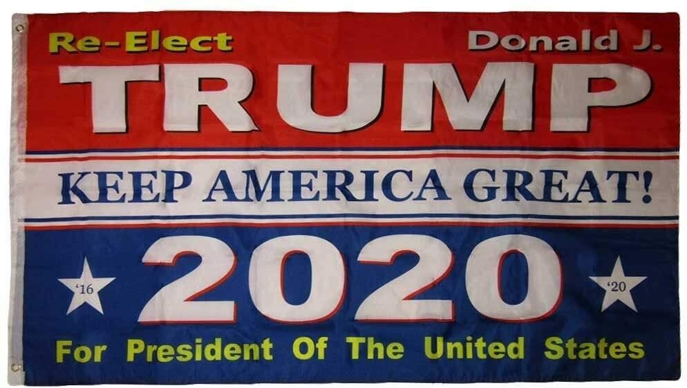Ant Enterprises 3x5 RE-Elect Donald J. Trump Keep America Great! 2020 3'x5' Flag Grommets