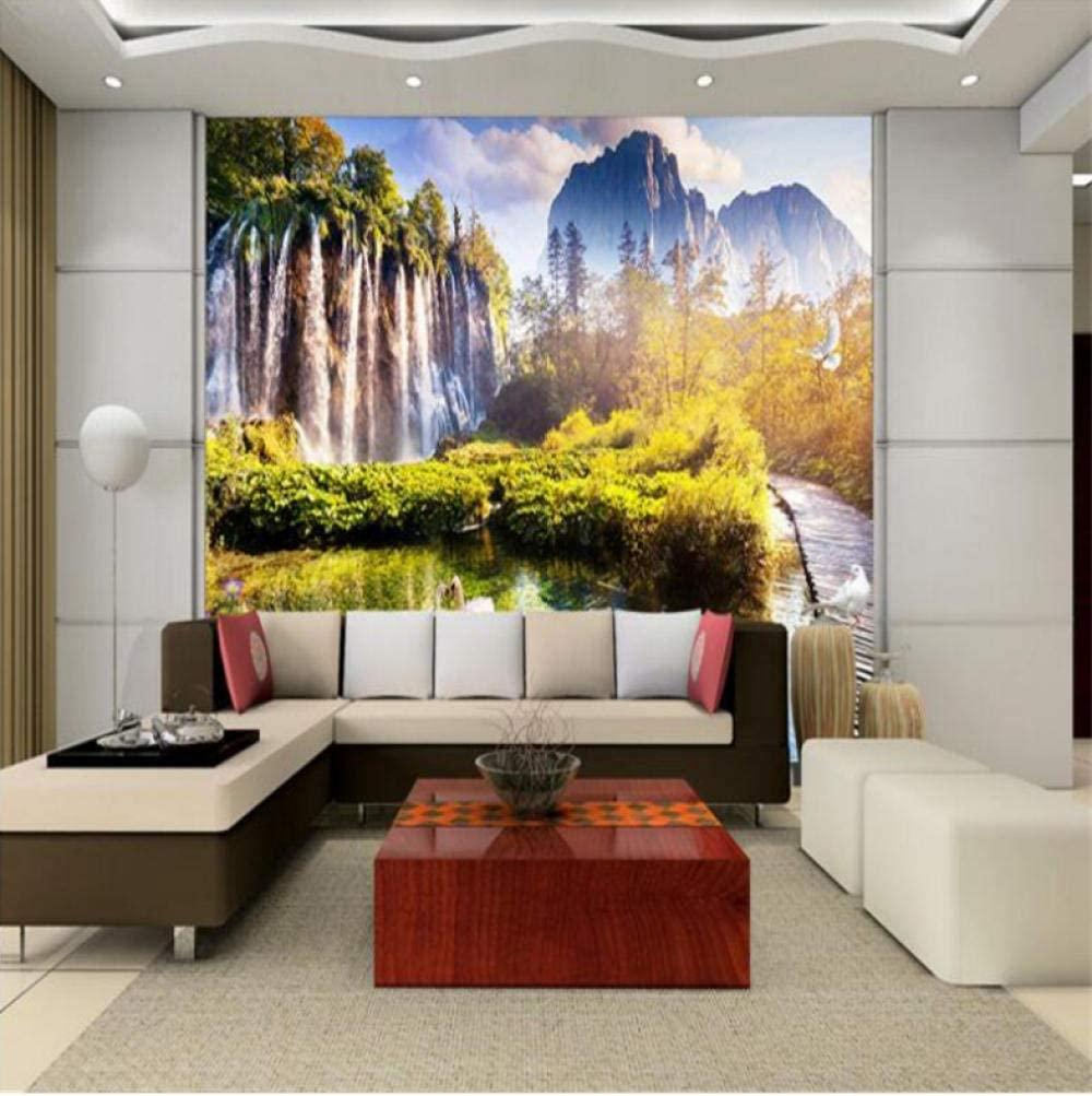 Pbldb Removable Large Custom Wallpapers Aesthetic Falls Wonderland Swan White Goose Continental Living Room Tv Backdrop-400X280Cm
