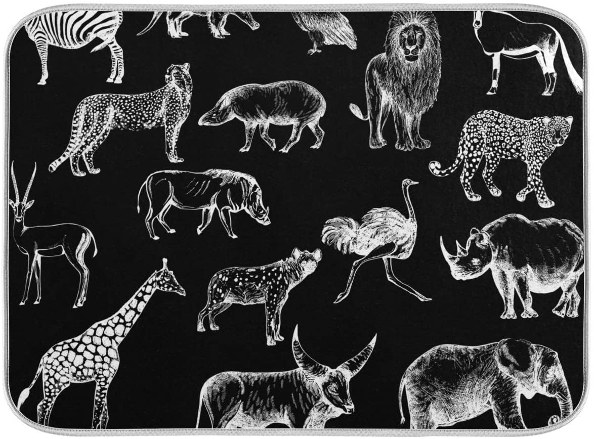 Absorbent Dish Drying Mat Microfiber - Wild Animals Dish Dryer Mats for Kitchen Counter 16 x 18 Inch