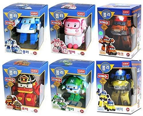 [6 Pcs SET] Academy Robocar Poli Transforming Robot Toy (Poli, Roy, Amber, Helly, Mark, Bucky)