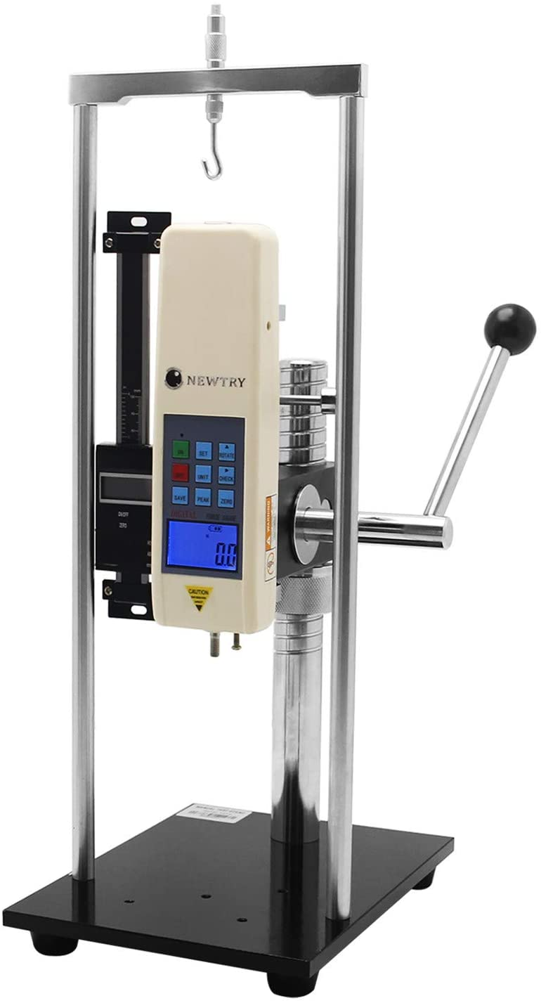 NEWTRY 110LB(500N) Digital Force Gague with Manual Test Stand Push Pull Force Meter Tester High Precision with Units Conversion N, kg, lb, Data Output Function, Automatic Peak, Five Modes