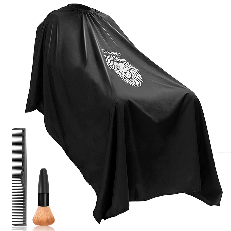Bircen Professional Barber Cape for Men Protector Haircut Cloth Apron Neck Duster Brush and Carbon Comb Salon Barber Supplies 3pcs, 55