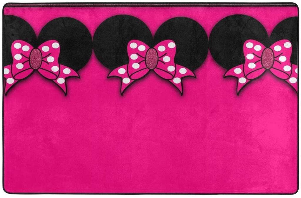 Large Non-Slip Area Rug Minnie Bowknot Cartoon Carpet Living Room Rugs Floor Mat Doormats 60 X 39 Inches