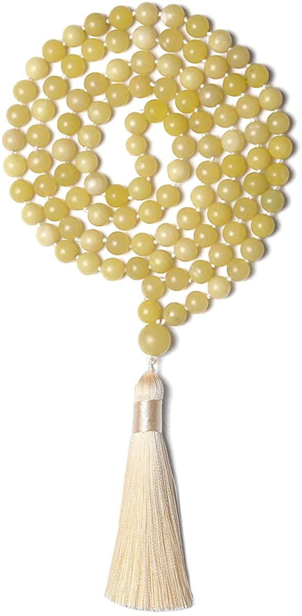Mala Beads 108 8mm Tibetan Prayer Beads Mala Necklace Hand Knotted Japa Mala Yoga Meditation Beads Tassel Necklace