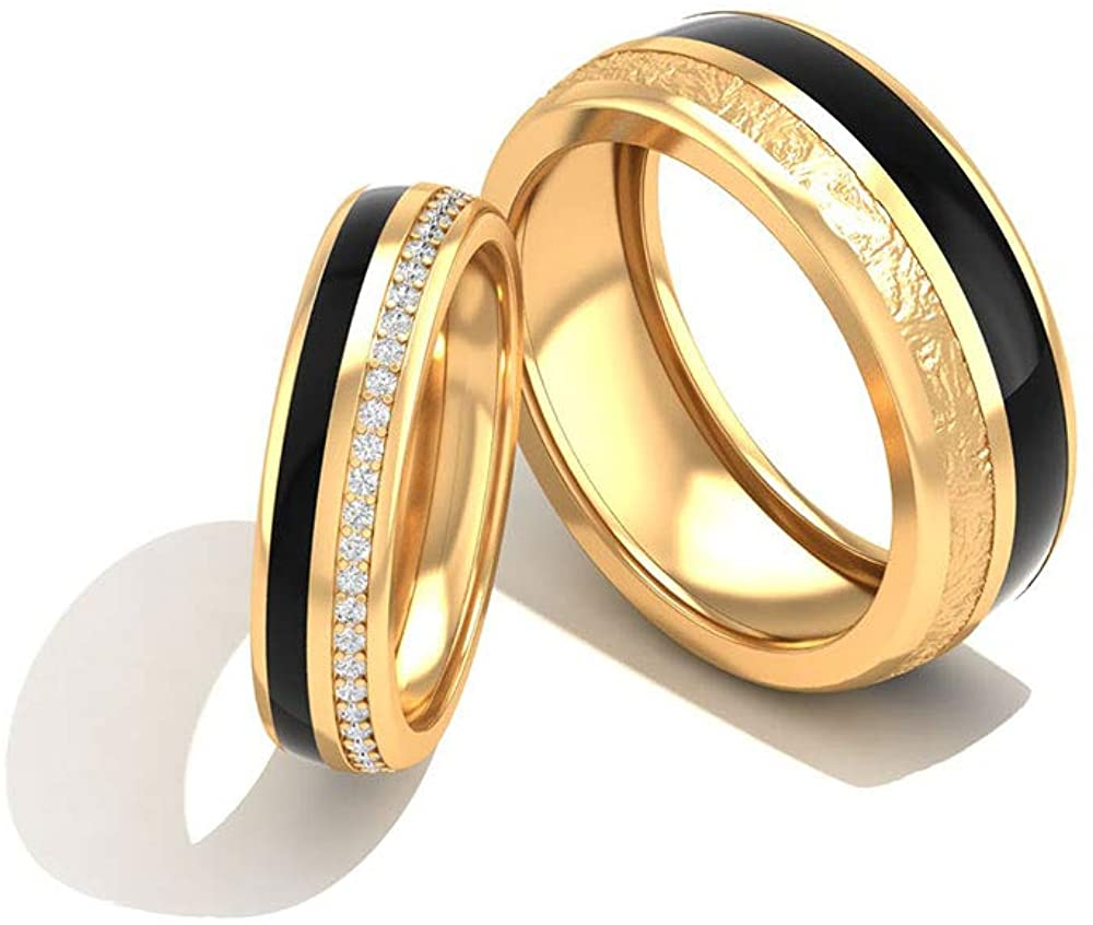 0.33 Carat Certified Diamond Couple Matching Engagement Ring, Vintage Black Enamel Solid 14k Matte Gold Wedding Ring Set, Eternity Custom Rings, 10K Gold