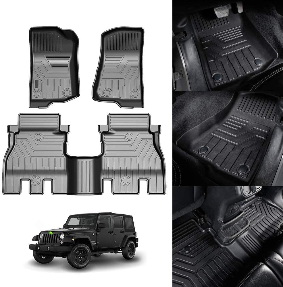 KUST 3D Floor Mats for Jeep Wrangler JL Unlimited 4-Door 2018 2019 2020 2 Row Liner Set All Weather Durable Odorless TPE Floor Carpet Liner