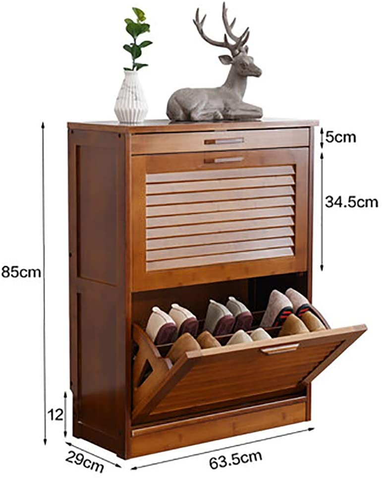 WANGS Shoe Storage Cabinet Unit, Bamboo Versatile Hallway Furniture Shoe Cupboard Stand 3 Animal Standing Storage Organizer with flip Door-A