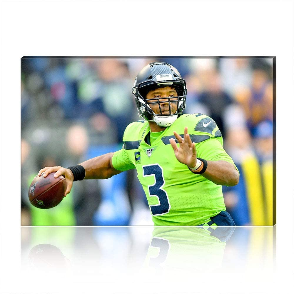 Canvas Prints Creative NFL Russell Wilson Wall Art Oil Painting Picture Poster Artwork Home Decoration Gift