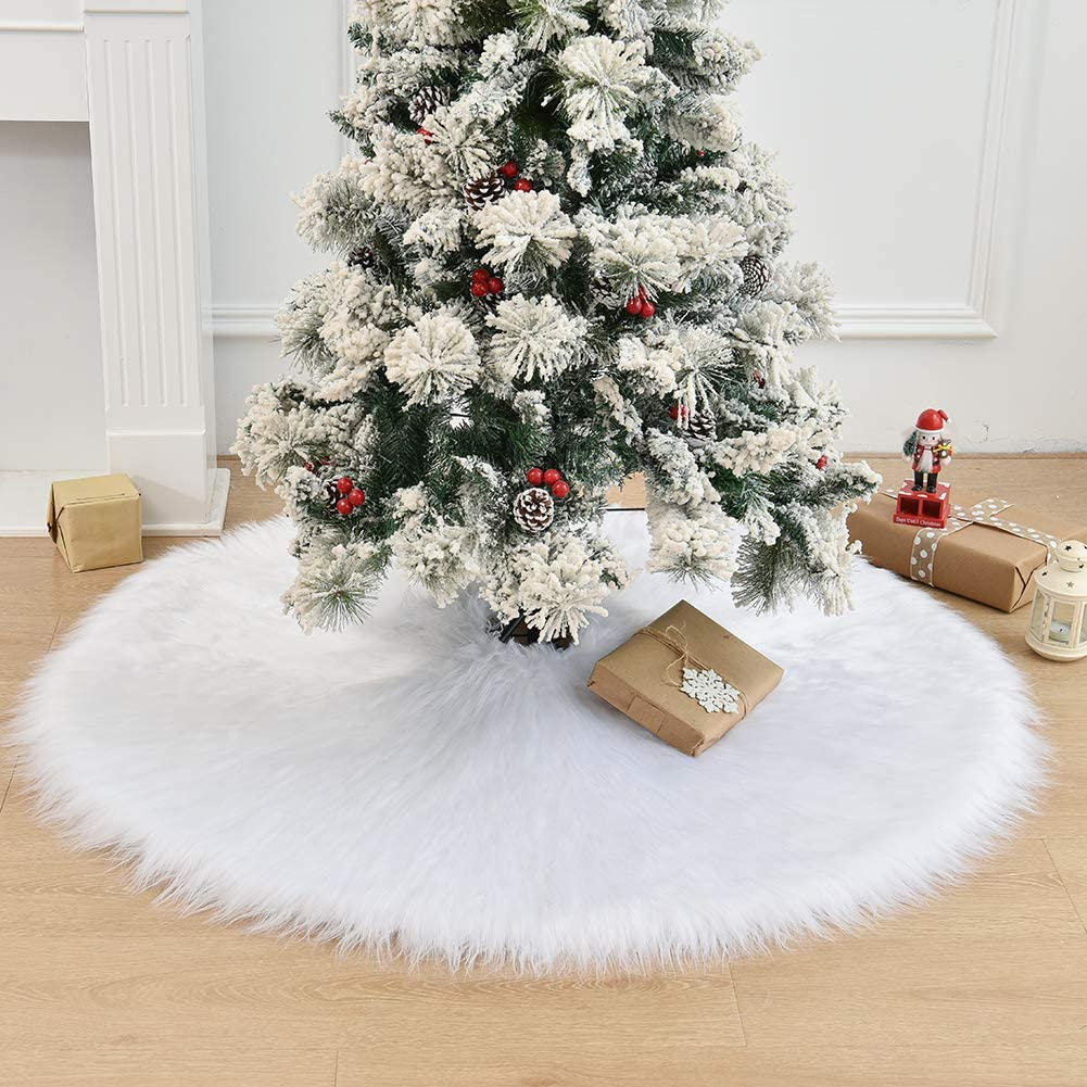 HAIGOU 48 Inch Christmas Tree Plush Skirt Decoration for Merry Christmas Party Faux Fur Christmas Tree Skirt Decorations