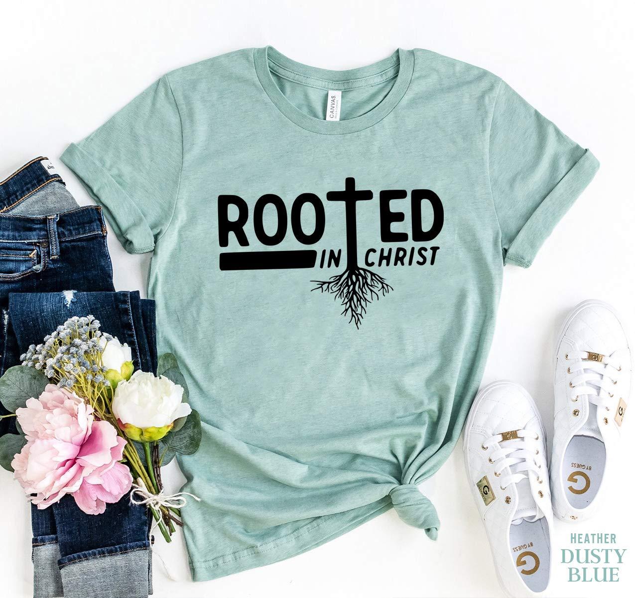Rooted in Christ T-shirt, Christian Tshirt, Vertical Cross Shirt, Religious T-shirt, Church Tshirt, Jesus Shirt, Christian Gift T-shirt, Gift For Her