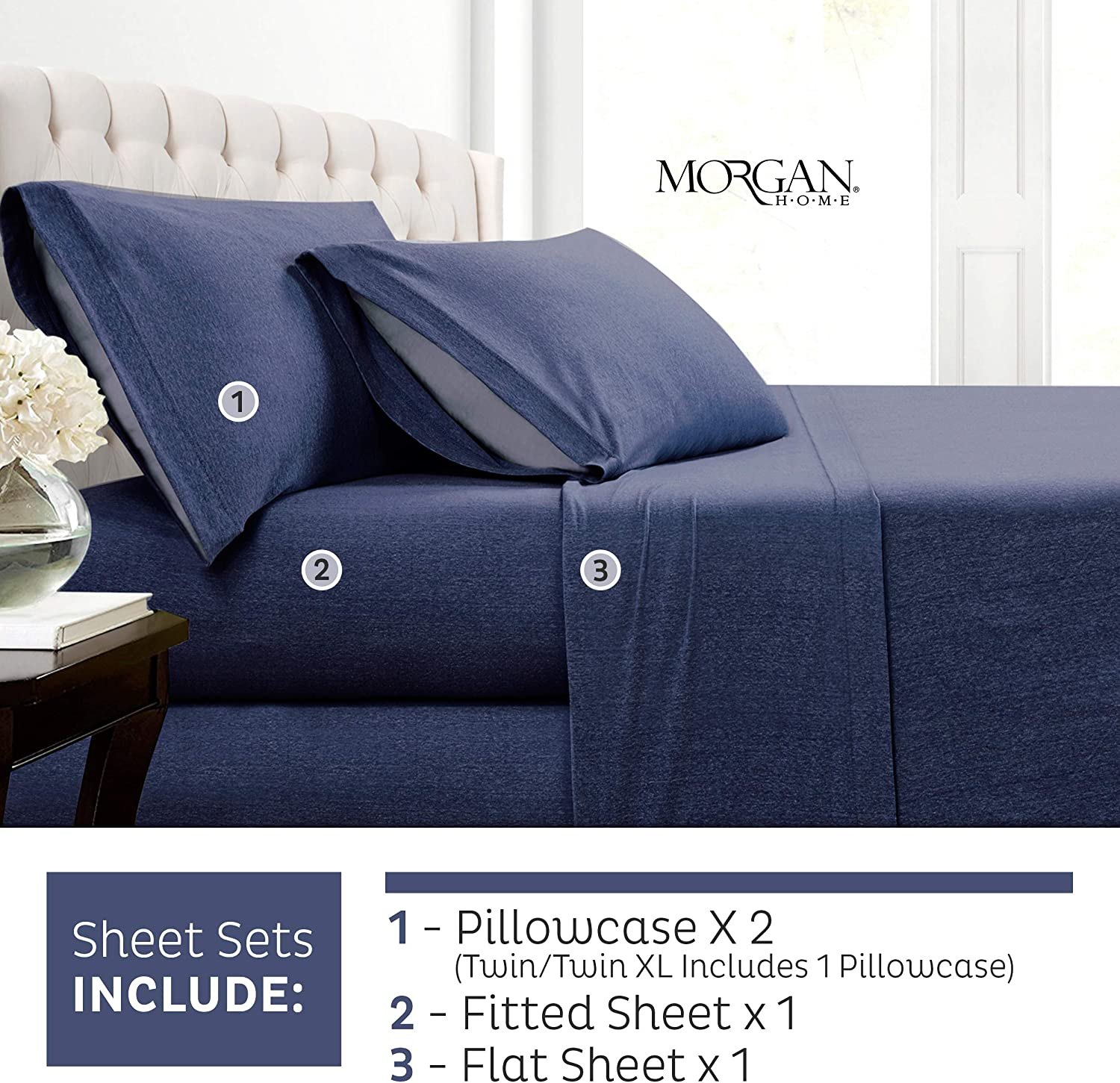 Morgan Home Fashions Cotton Rich T-Shirt Soft Heather Jersey Knit Pillowcases - All Season Bed Sheets, Warm and Cozy Fashions (2 Pack Pillowcases, Heather Indigo)