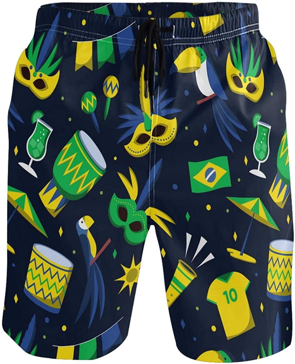 Men's Swim Trunks - Brazilian Carnival Football Shirts Beach Short Men Quick Dry Elastic Waist Board Shorts