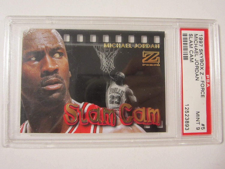 1997-98 Z-Force Slam Cam #5SC Michael Jordan PSA MINT 9 Chicago Bulls Card - Unsigned Basketball Cards