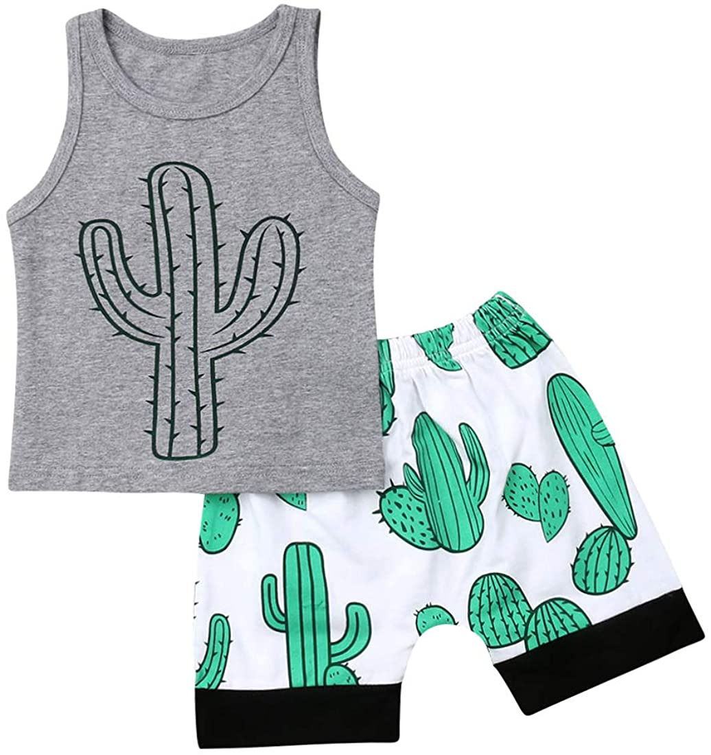2Pcs Newborn Baby Boys Summer Clothing Sets Cute Letters Sleeveless Tank Tops + Palm Shorts Outfits (Gray Cactus, 2-3T)
