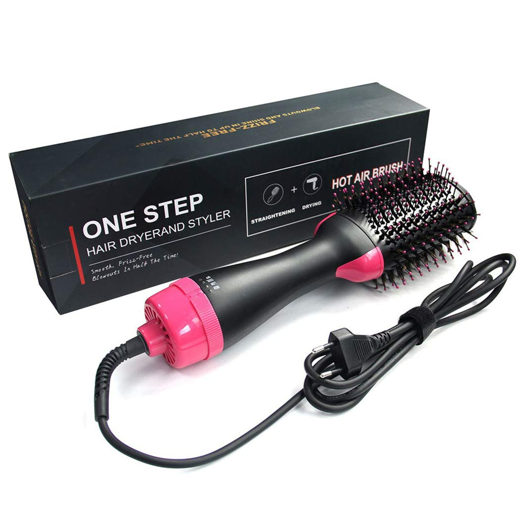 Hot Air Brush, Hair Brush Dryer and Styler, 3 IN 1 Electric Negative Ion Hair Dryers, Curler and Straightener in One (Black Red)