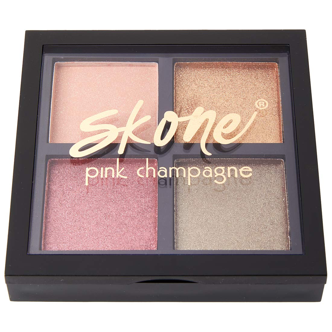 Pink Champagne Eyeshadow Quad Makeup - Featuring Skone Cosmetics Luxe Formula for Universally Flattering, Shimmery Shades of Beautiful Champagne Tones
