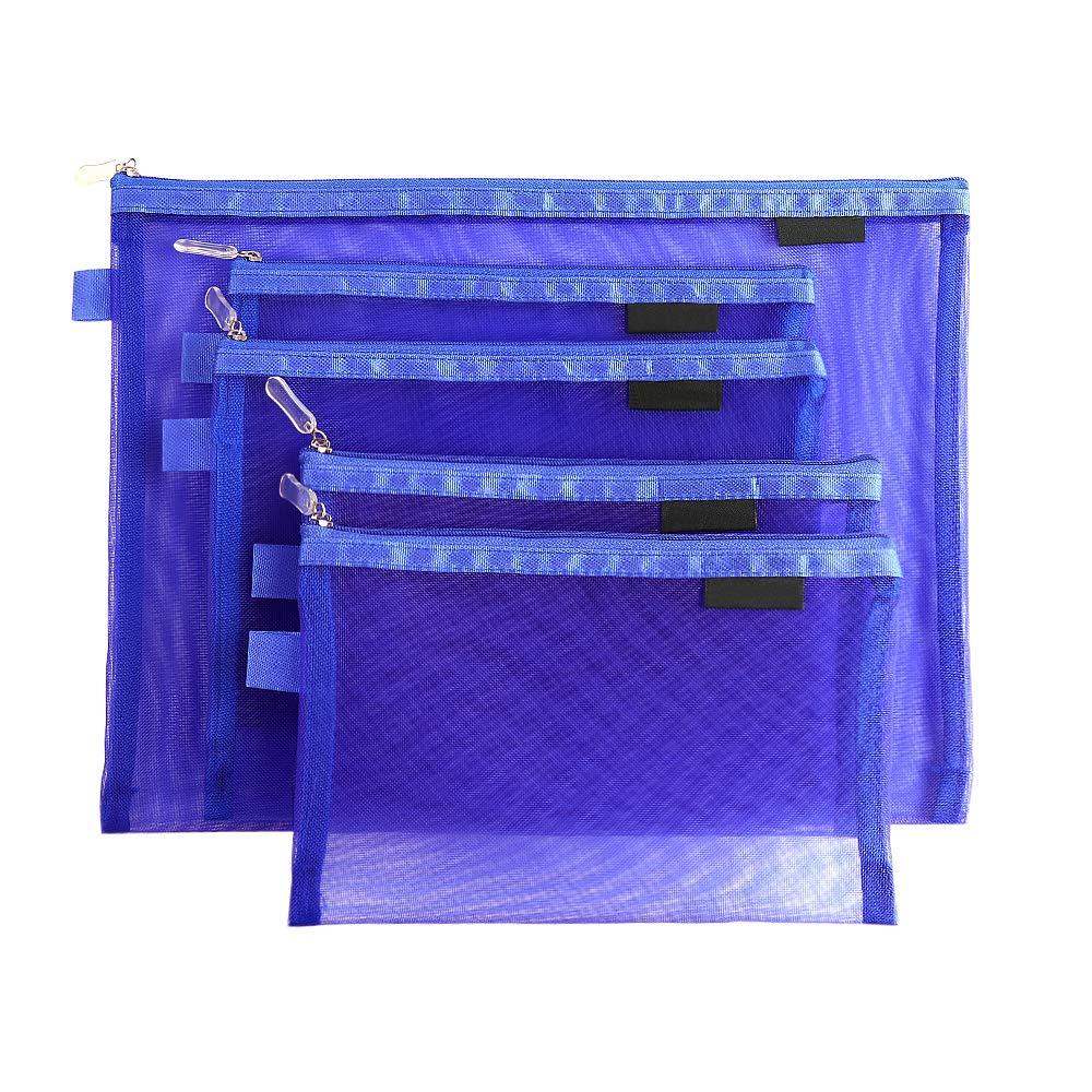 Topfinder Clear Cosmetic Bags Zip Makeup Mesh Bags Pencil Case Pouch Travel Toiletry Kit Set Storage Case (Dark Blue)