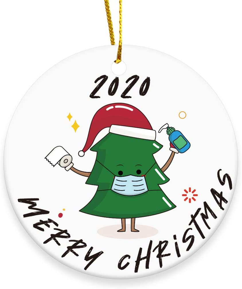 Umzing 2020 Christmas Tree Ornament, Merry Christmas Cute Masked Xmas Tree Hanging Decoration - 3 inch Circle Ceramic Double-Sided Printed Holiday Christmas Family & Friends Gift (Xmas Tree - 01)