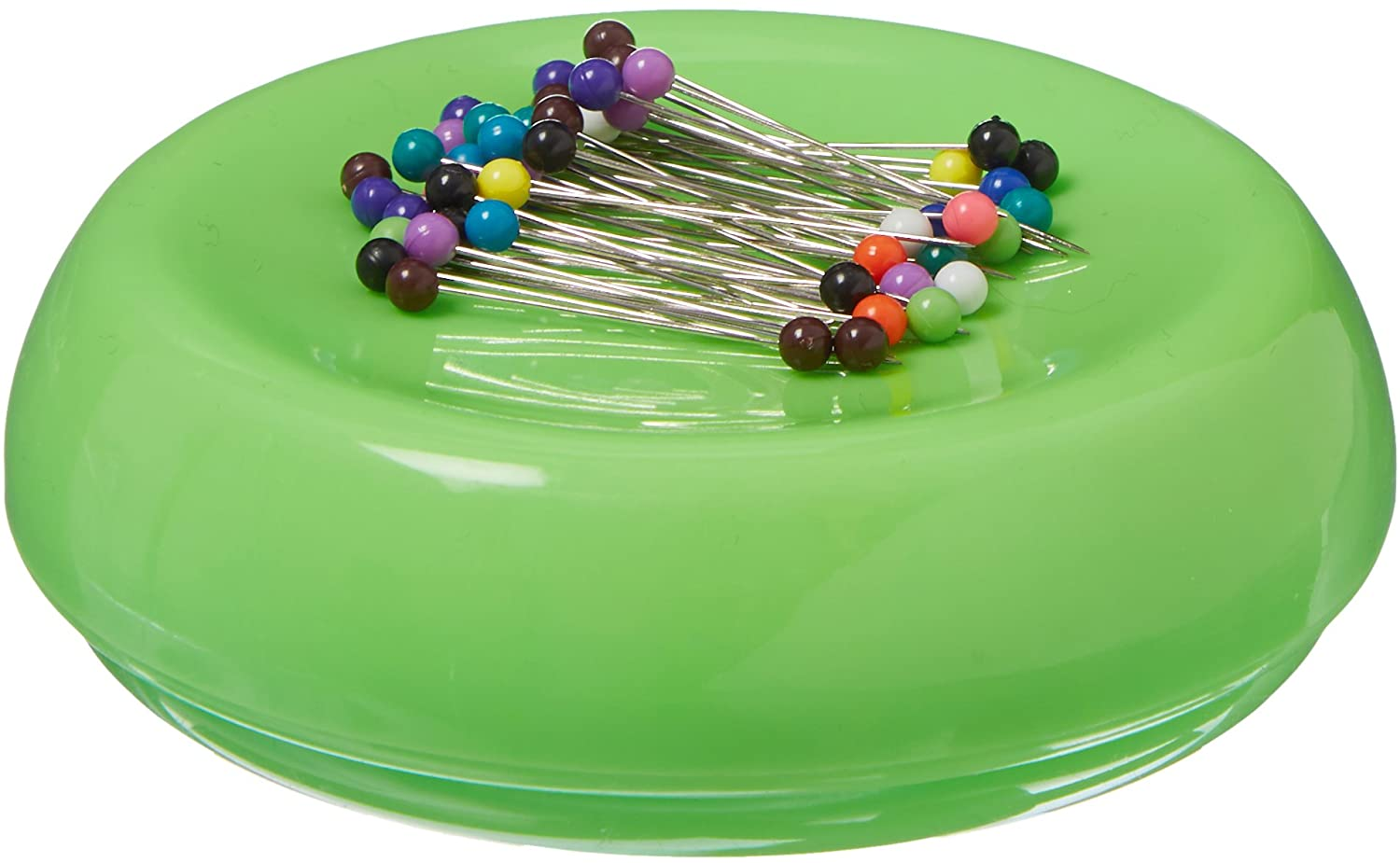 Grabbit Magnetic Sewing Pincushion with 50 Plastic Head Pins, Lime Green
