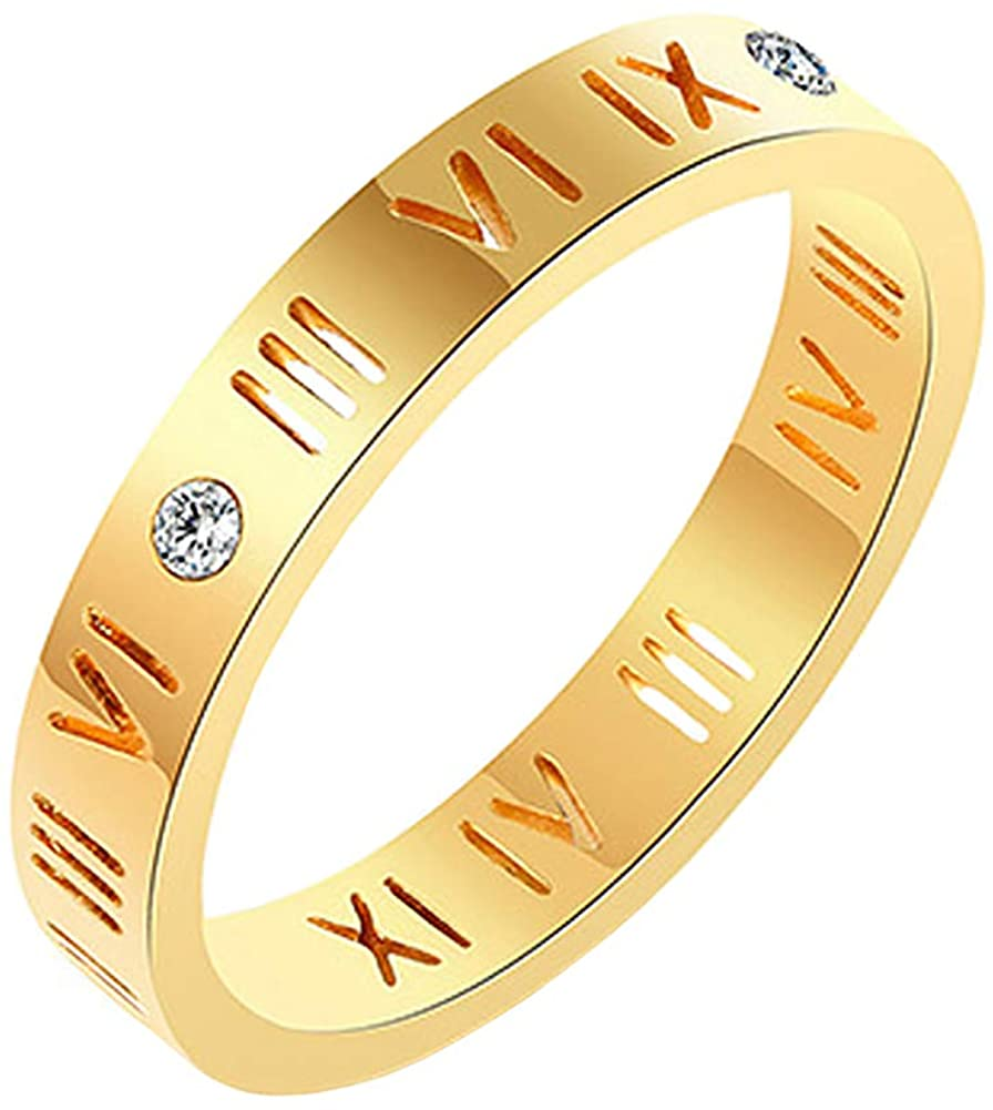 yfstyle Roman Numeral Stainless Steel Ring Hollow CZ Setting Good Luck Ring Dainty Jewelry Gift for Women Teen Girls