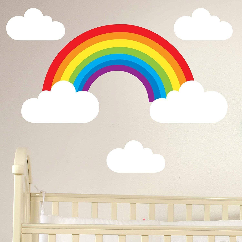 EricauBird Decal Sticker-Booizzi Rainbow and Clouds Removable Wall Sticker Set Childrens Nursery Decal Wall Art