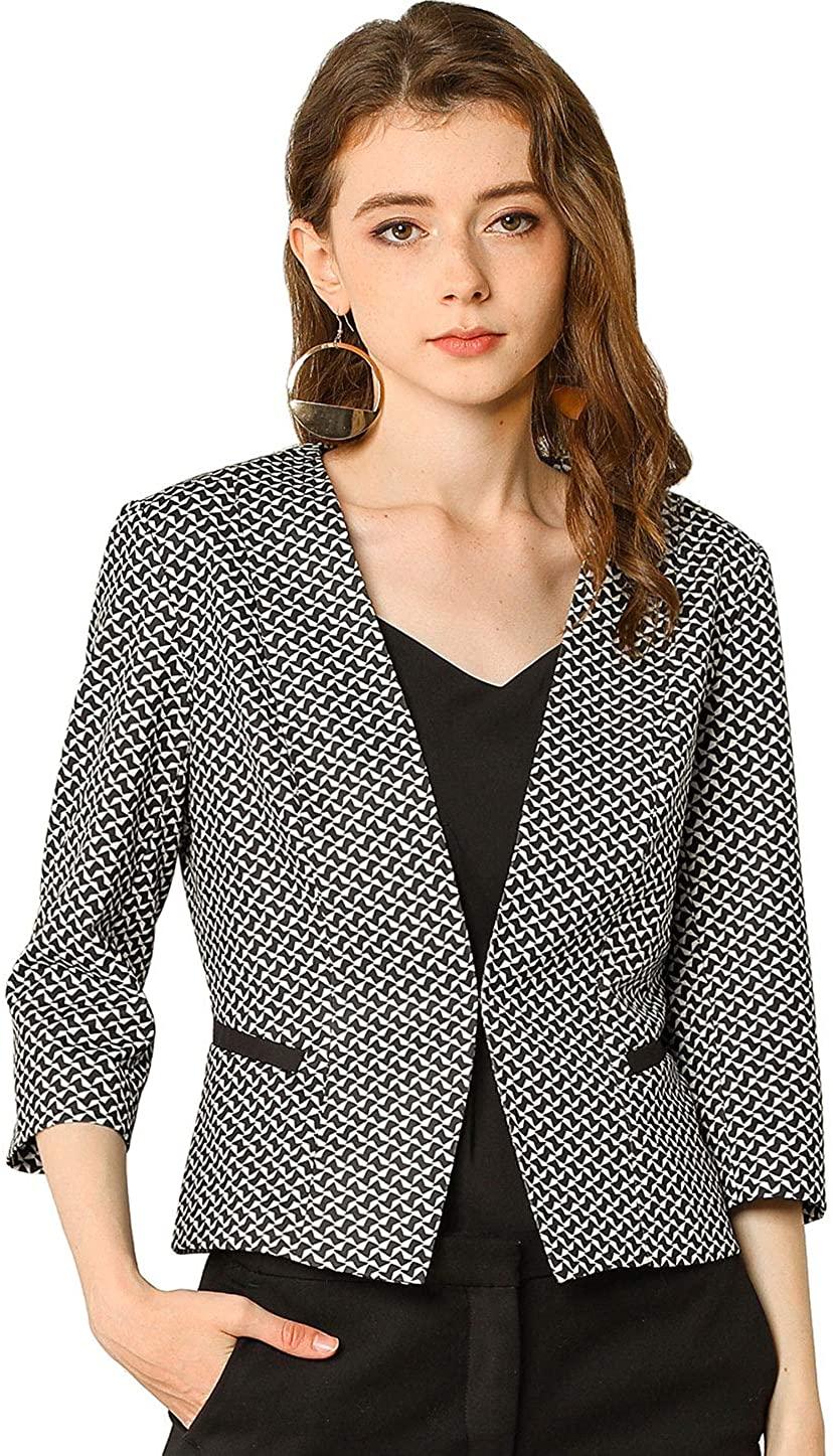 Allegra K Womens Houndstooth 3/4 Sleeves Collarless Work Office Jacket Blazer