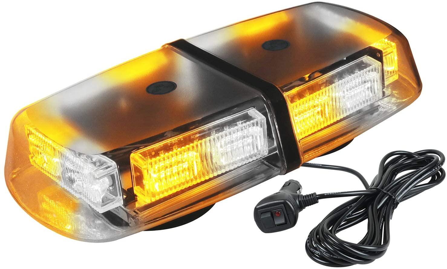 ASPL 36LED 12V High Intensity Law Enforcement Emergency Hazard Warning LED Mini Bar Strobe Light with Magnetic Base for Snow Plow, Trucks, Construction Vehicles (Amber/White)