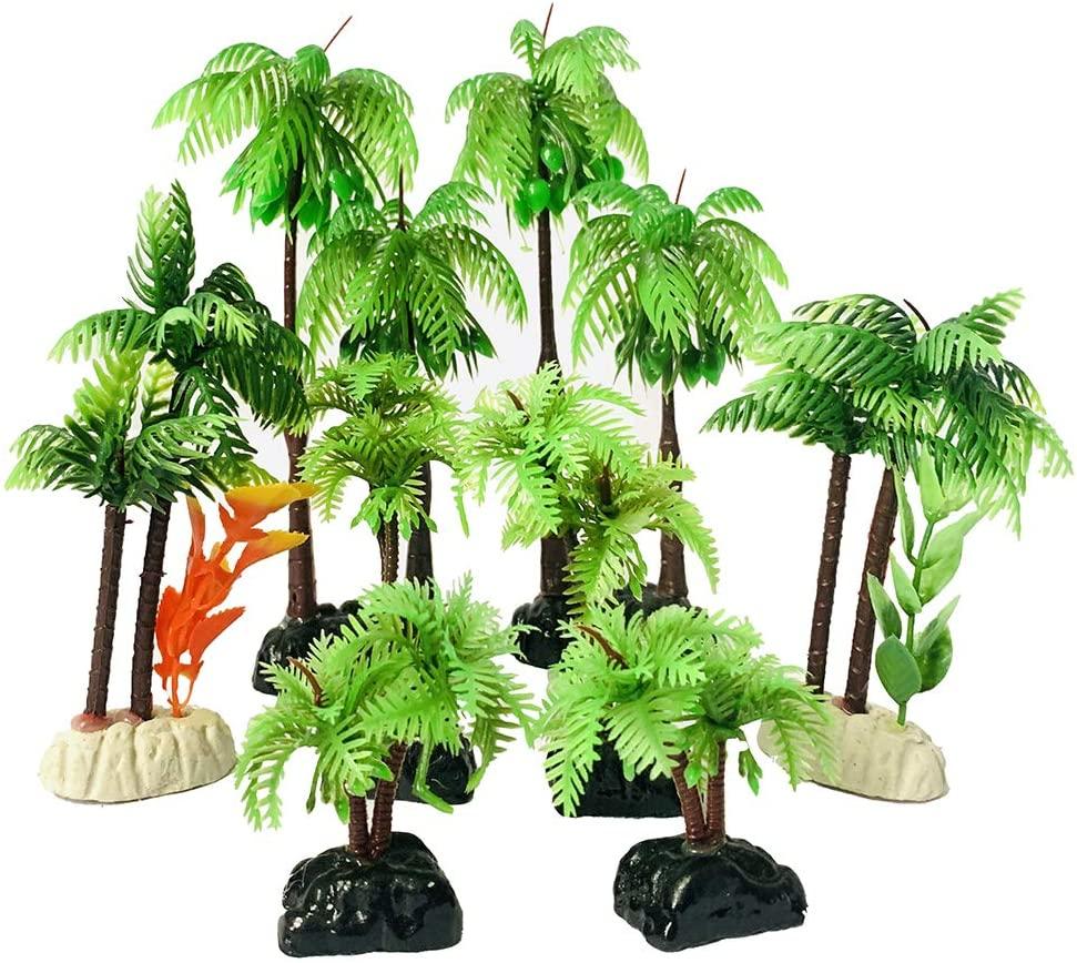 ZYYRT Coconut Tree Aquarium Decoration 8Pcs Artificial Plastic Plants for Fish Tank Ornament