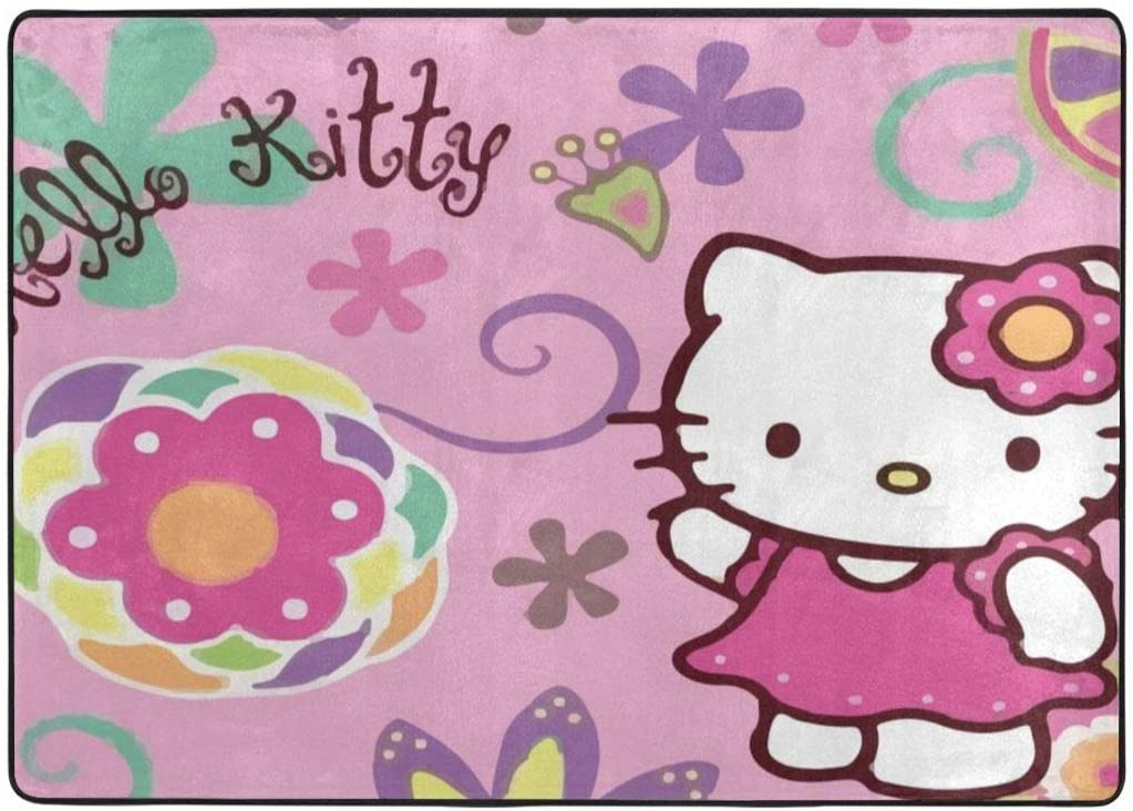 Super Soft Indoor Hello Kitty Area Rugs Anti-Skid Dining Room Home Bedroom Carpet Floor Mat 80 X 58 Inches