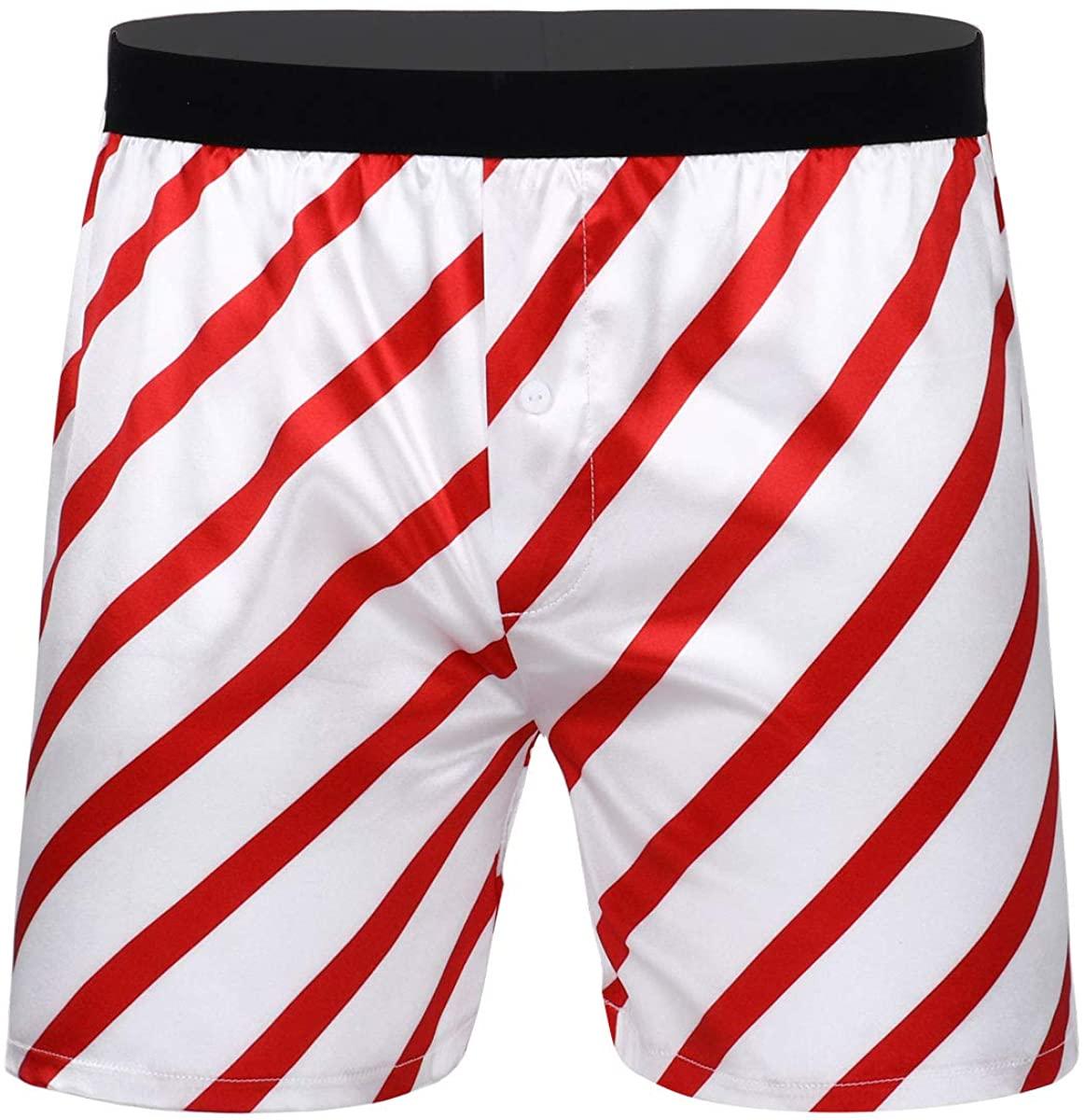 CHICTRY Men's Silk Stripe Satin Shiny Satin Boxer Shorts Lounge Trunks Underwear Christmas Holiday