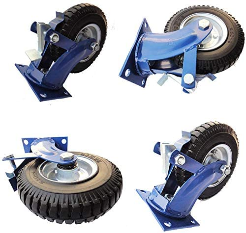 Casters (4-pack) explosion-proof tires Hollow tire paint blue rack 8 inch high performance inflatable free fixed brake wheel universal wheel diameter 200 mm set