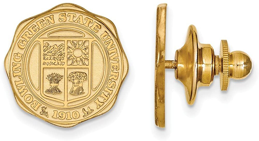 Solid 14k Yellow Gold Official Bowling Green State University Crest Lapel Pin 15mm