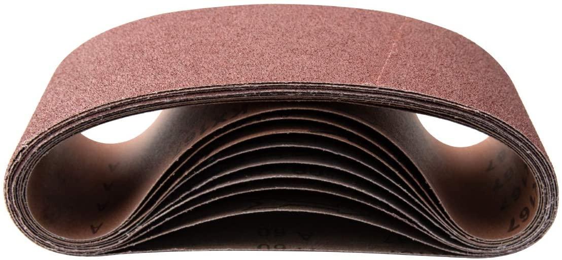 POWERTEC 110620 4 x 36 Inch Sanding Belts | 40 Grit Aluminum Oxide Sanding Belt | Premium Sandpaper – 10 Pack