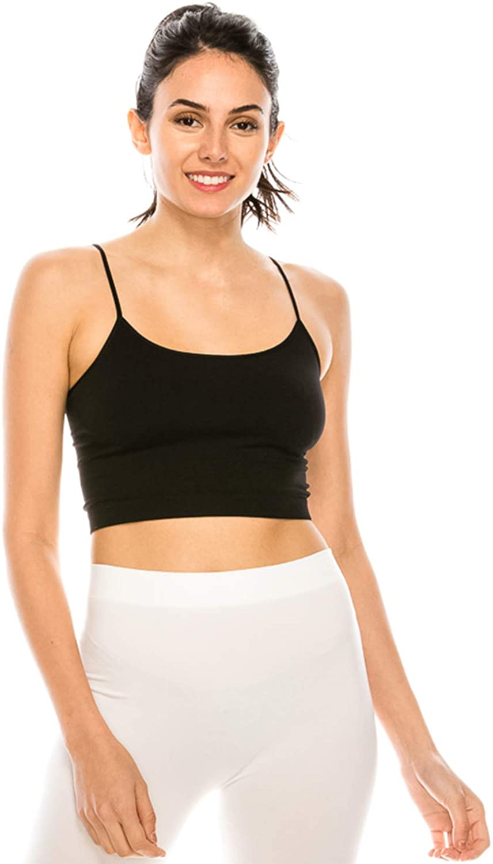 Sports Crop Seamless Bra Top - Mini Tank Camisole Cami Bralette Bandeau Underwear No Pad/Wire One Size Made In USA