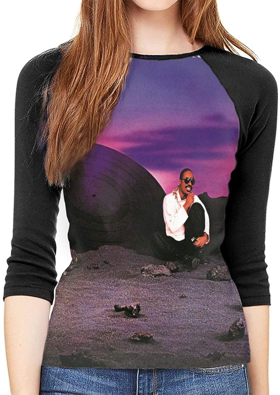 Stevie Wonder in Square Circle Fashion Casual Raglan Printed 3/4 Sleeve Women's Mid-Sleeve T-Shirt Black