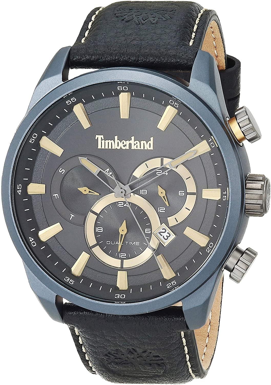 Timberland Men's MILLWAY Quartz Watch with Leather Strap, Black, 24 (Model: TBL16002JL01)