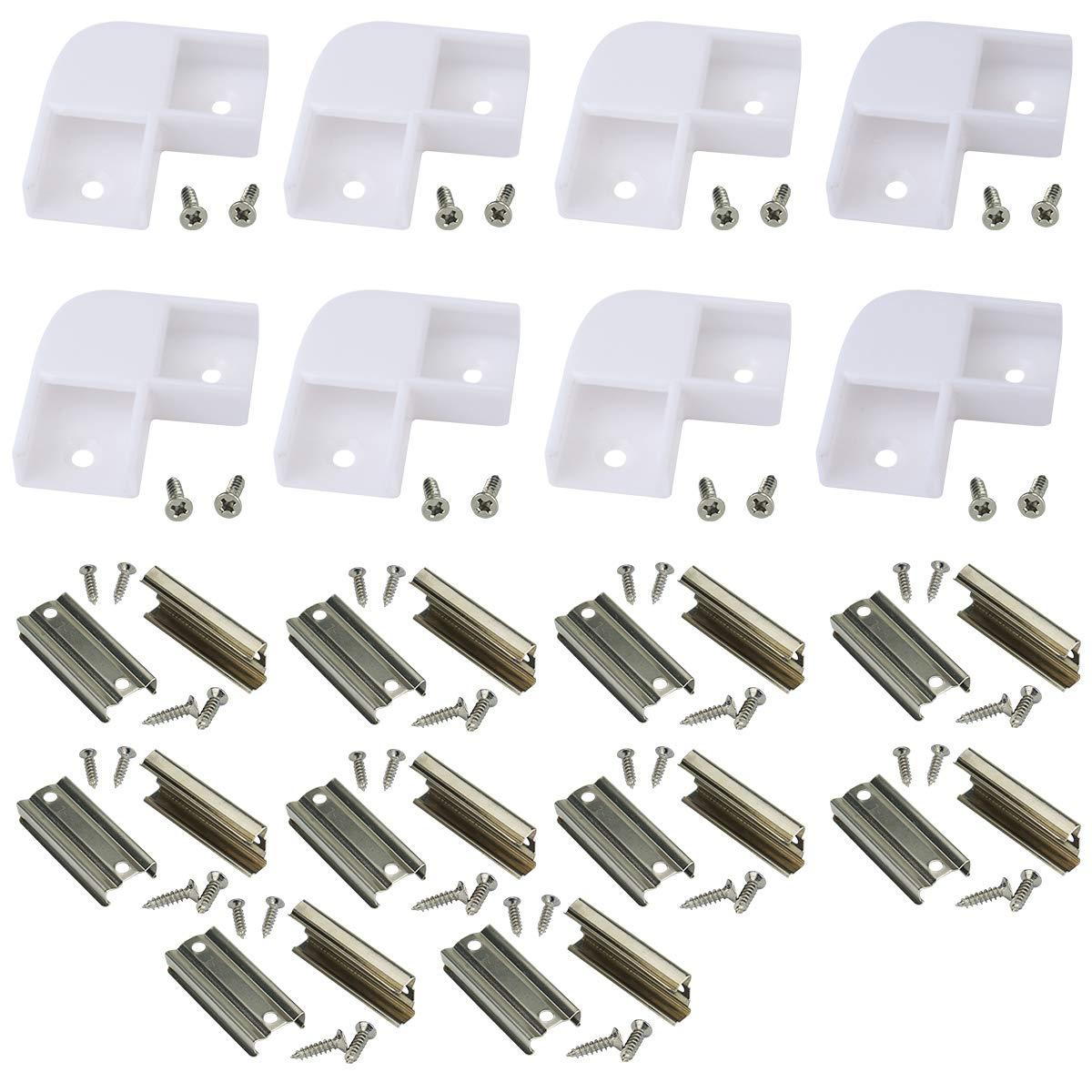 Muzata Led Channel Corner Connector kit L-Shape Adaptor 8PCS and Extension Connectors 20PCS for U-Shape U1SW Aluminum Channel, 90 Degree LC07 E1,LA1 LC1