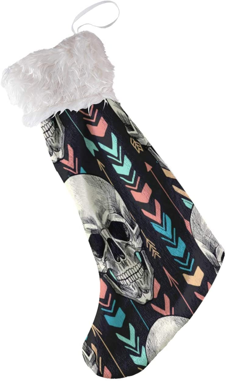 N\ A Christmas Stockings Vintage Tribal Ethnic Skulls Feathers Striped Personalized Large Xmas Stocking Holder Party Decorations for Family Holiday Season Home Xams Tree Decor Big Plush 21