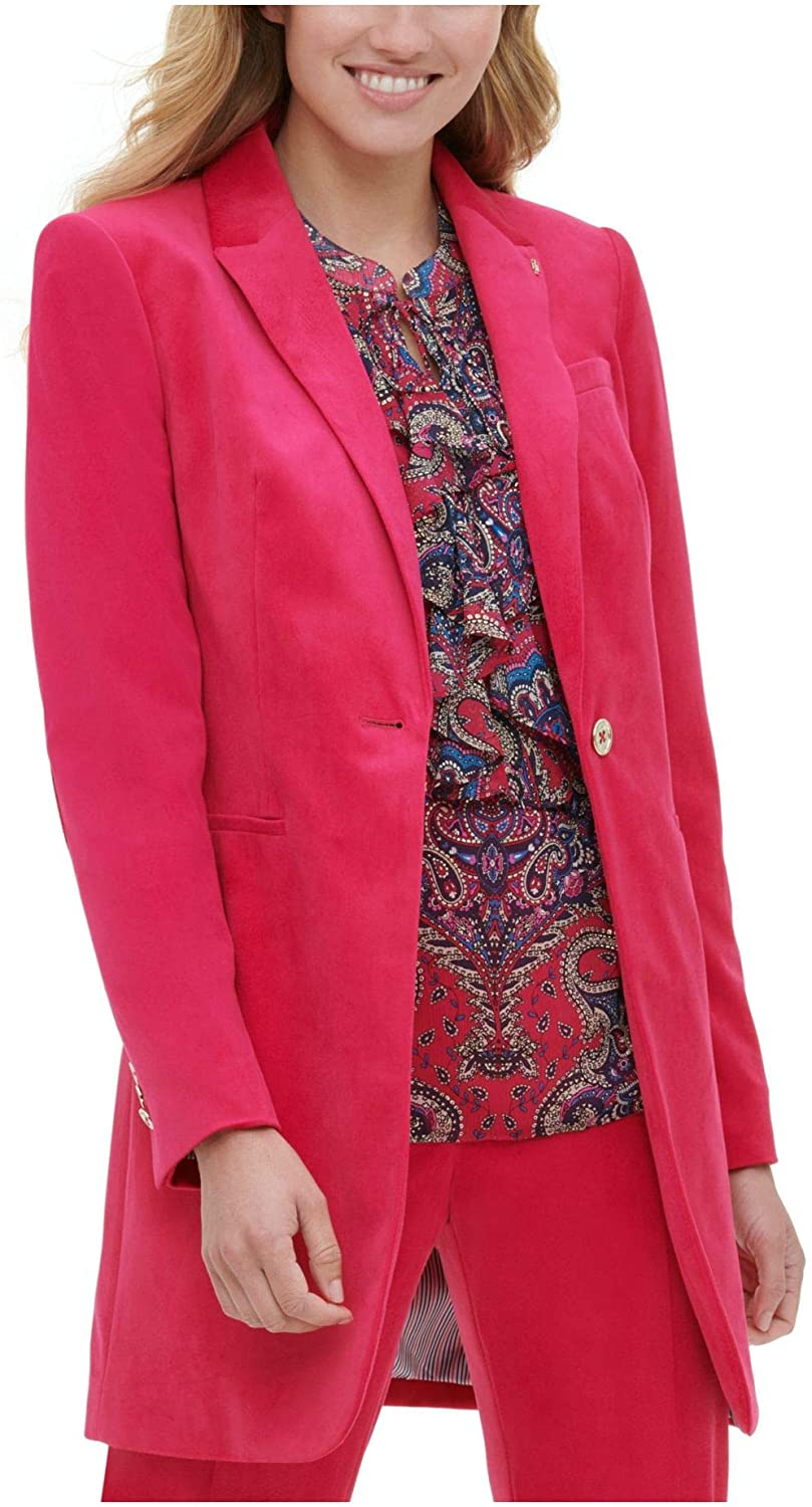 Tommy Hilfiger Womens Red Suit Wear to Work Jacket Size 4