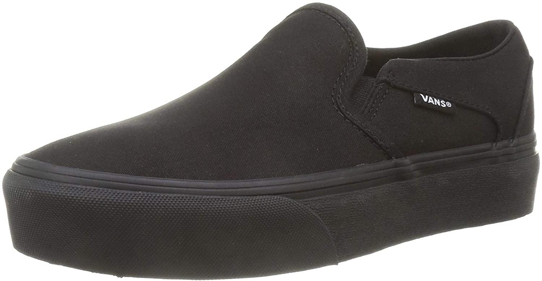 Vans Womens Low-Top Trainers Sneaker, Canvas Black Black, 7.5 us