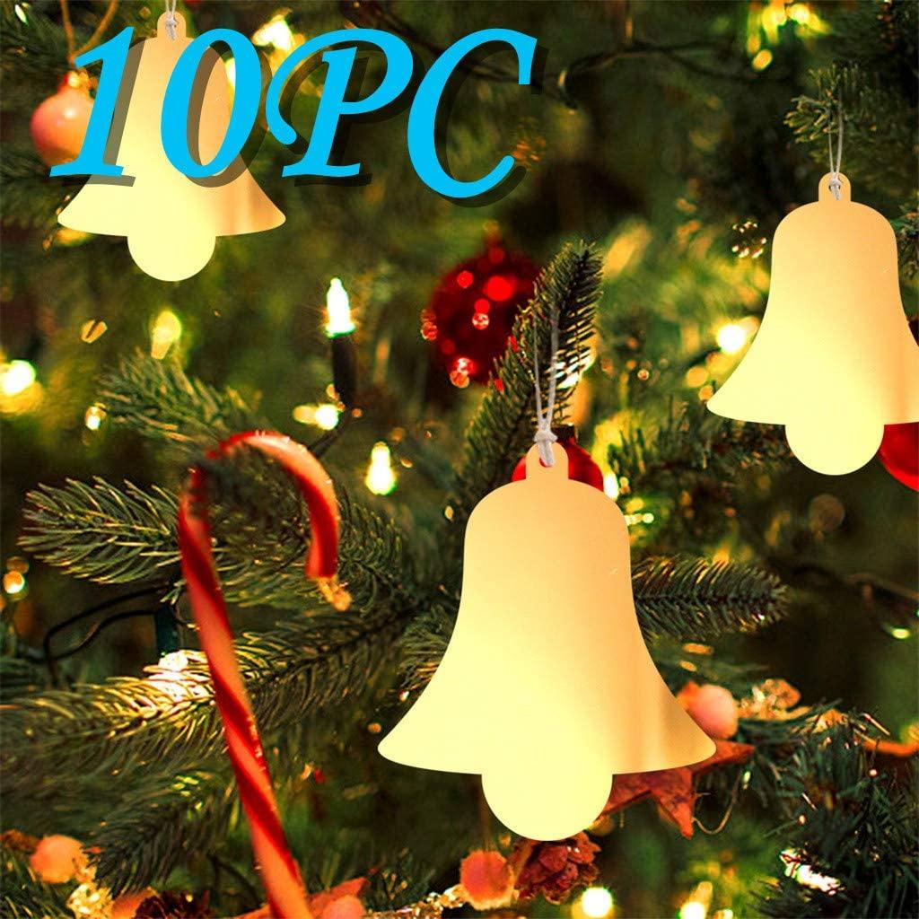 Sannysis 10PC Christmas Art Acrylic Mirror Pendant DIY Christmas Tree Pendant Home Decor with 10 Hemp Ropes (I)