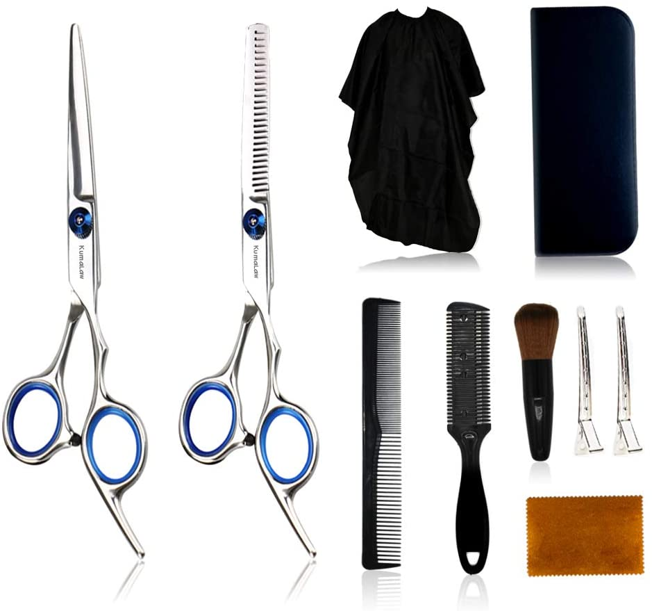 Hair Cutting Scissors Set 10 Pcs ProfessionalStainless Steel Hairdressing Shears Kits in Leather Case with Thinning Scissors, Clips, Hair Cutting Comb for Barber Salon Home Women Men Pet