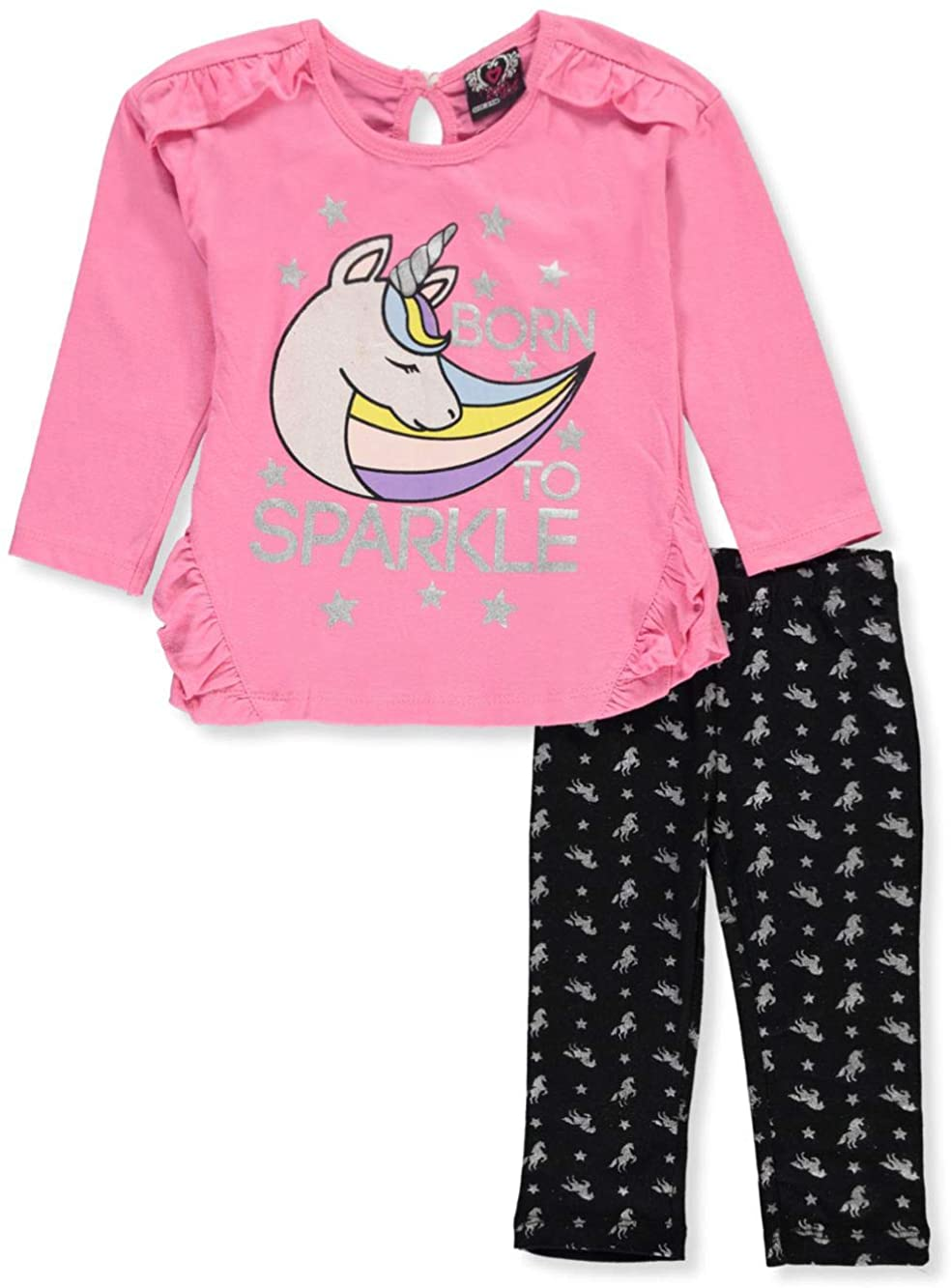 Real Love Baby Girls' Sparkle Unicorn 2-Piece Leggings Set Outfit