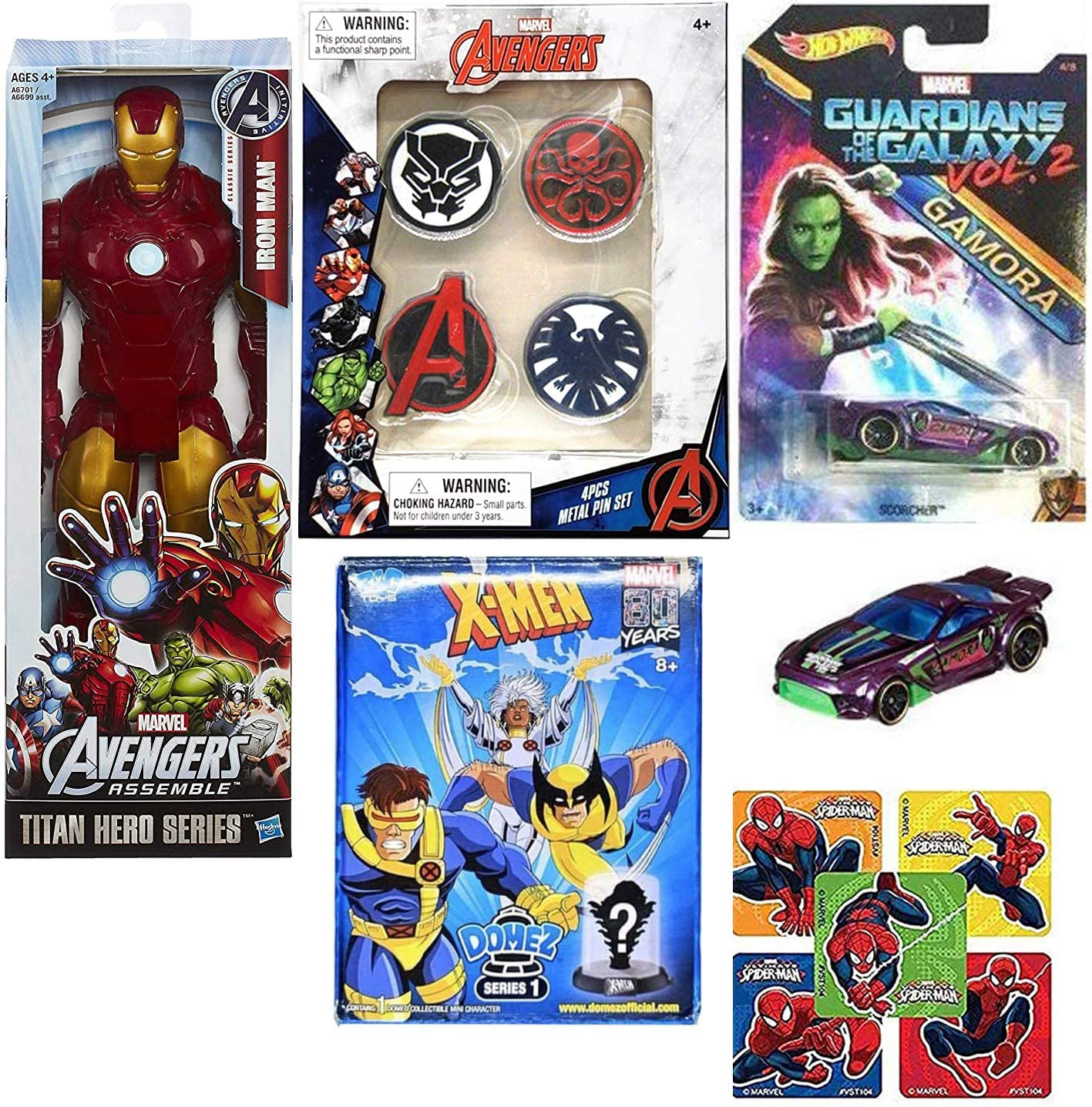 Scorcher Super Pack Marvel Heroes Gamora Guardians Galaxy Bundled with Heroes X-Men Blind Box Domez + Iron Man Titan Figure + Pins Hydra / Agents / & Stickers 4 Items