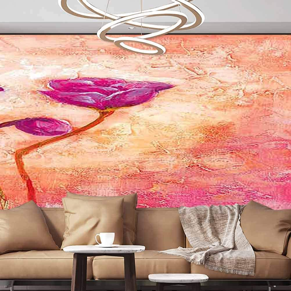 Albert Lindsay Backdrop Wall Stickers Murals Flower Painting Design Self-Adhesive Large Wallpaper,135x106 inches/343x270 cm,for Office Livingroom Girls Bedroom Family Wall Decals