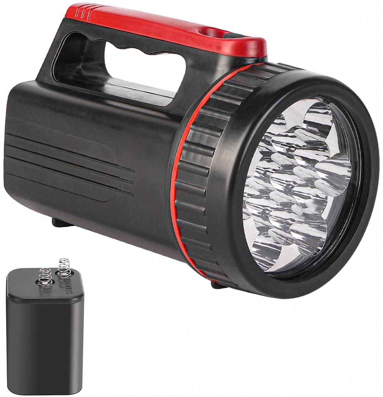 Outdoor Spot Lights Hand-Held Flashlight,280 Lumens Light Bright Long Distance LED Spotlight Searchlight,6 Volt Lantern Battery Powered Lights ,13LED (Black)